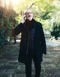 Portret brodaty wieka średniego biznesmen opowiada na jego smartphone podczas gdy chodzący w miasto parku Horyzontalny, zamazany Fotografia Royalty Free