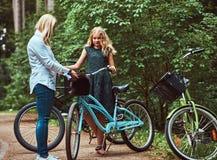 Portret córka z blondynka włosy na rowerowej przejażdżce z ich ślicznym małym spitz psem w parku i matka Obrazy Royalty Free