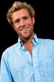 Portret caucasian męski ono uśmiecha się na czarnym tle Obraz Royalty Free