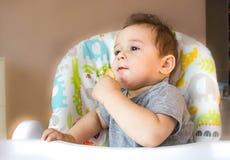 Portret chłopiec łasowania dziecka śliczny ciastko pierwszy jedzenie dla dzieci 10 miesięcy berbeć chłopiec uczenie żyć z ząb bry Zdjęcie Stock