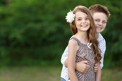 Portret chłopiec dziewczyna Zdjęcia Stock