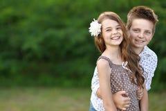 Portret chłopiec dziewczyna Obrazy Royalty Free