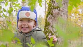 Portret chłopiec która bawić się w jesieni ono uśmiecha się i parku zdjęcie wideo