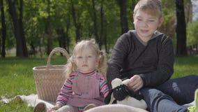 Portret chłopiec nastoletni blond obsiadanie na koc w parkowym czytaniu książka jej mała siostra w menchiach ubiera obsiadanie zbiory