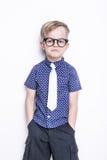 Portret chłopiec w śmiesznym krawacie i szkłach troszkę szkoła preschool Moda Pracowniany portret odizolowywający nad białym tłem Obrazy Royalty Free