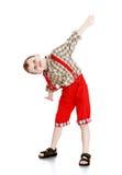Portret chłopiec w czerwonych skrótach obraz stock