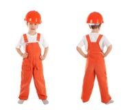 Portret chłopiec w pomarańczowym hełmie, odosobnienie obrazy royalty free