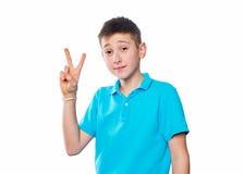 Portret chłopiec pokazuje emocje ekspresyjne Obraz Royalty Free