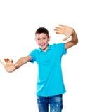 Portret chłopiec pokazuje emocje ekspresyjne Obrazy Stock