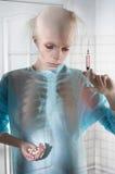 Portret chora łysienie kobieta zdjęcie royalty free