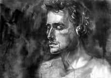 Portret conceptual da música da aquarela Fotografia de Stock Royalty Free