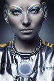 Portret cyborg kobieta z holograma pokazem obraz stock