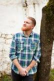 Portret czerwony z włosami mężczyzna z długą brodą Zdjęcie Stock