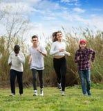 Portret cztery przyjaciela biega na polu Fotografia Royalty Free