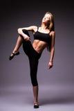 Portret czułość, gracja, melodia i klingeryt gimnastyczna dziewczyna, Obrazy Stock