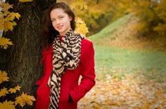 Portret d'automne de belle fille de sourire images stock