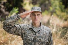 Portret daje salutowi militarny żołnierz Obrazy Royalty Free