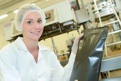 Portret dama w fabrycznym mieniu pieczętował czarną torbę Obraz Stock