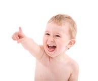 Portret dat van baby door vinger richt Royalty-vrije Stock Afbeelding
