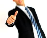 Portret dat van de bedrijfsmens duim-omhoog geeft Stock Fotografie