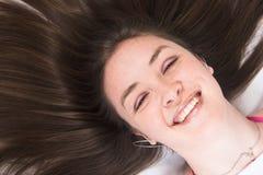 Portret dat van de schoonheid - het glimlacht Stock Foto