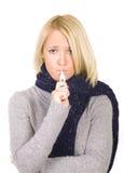 Portret dat van vrouw haar temperatuur vergt. Royalty-vrije Stock Afbeelding