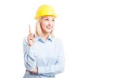 Portret dat van vrouweningenieur ideegebaar maakt Stock Foto