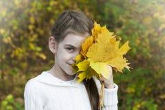 Portret in de herfstpark Stock Afbeeldingen