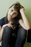 Portret de la mujer asustada joven Fotografía de archivo libre de regalías