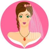 Portret de la novia en el fondo rosado Imagen de archivo libre de regalías