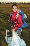Portret de meisje-parachutist Royalty-vrije Stock Afbeeldingen