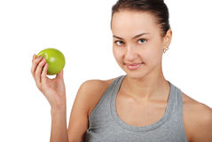 Portret de mujeres hermosas jovenes con la manzana verde Foto de archivo