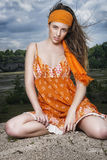 Portret in de wind Stock Fotografie
