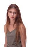 Portret della giovane donna con capelli marroni Immagini Stock Libere da Diritti