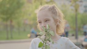Portret di bella ragazza sorridente nel parco Sun e natura piacevole Movimento lento stock footage
