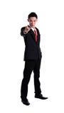 Portret die van de mens met zijn vinger richten Stock Foto
