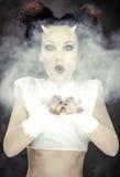 Portret dmucha białego proszek czarcia kobieta Obraz Royalty Free