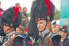 Portret Dobosz przy Braemar Królewskim Zgromadzeniem zdjęcie royalty free