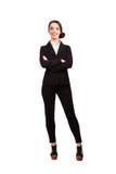 Portret dojrzała fachowa biznesowa kobieta pojedynczy białe tło zdjęcia stock