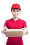 Portret doręczeniowa kobiety usługa szczęśliwie dostarcza pakunek zdjęcia royalty free