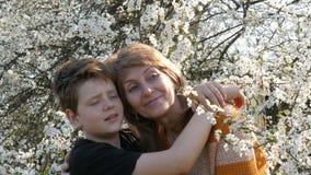 Portret dorosła w średnim wieku matka i jej nastoletni syn który patrzeją up przy niebem przeciw kwitnie drzewu zbiory