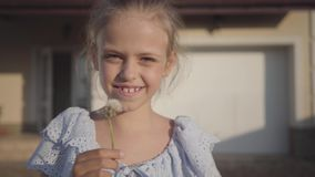 Portret dosyć śliczna mała dziewczynka dmucha dandelion i patrzeje kamery ono uśmiecha się Dziecko wydaje czas zbiory