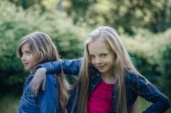 Portret dwa ślicznej małej dziewczynki cieszy się lato outdoors Fotografia Royalty Free