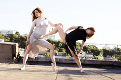 Portret dwa baleriny na dachu zdjęcie stock