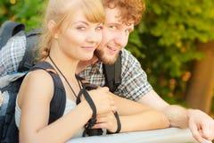 Portret dwa ludzie turystów wycieczkować Zdjęcie Stock