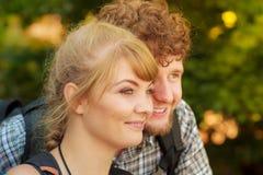 Portret dwa ludzie turystów wycieczkować Obraz Stock