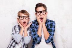 Portret dwa młodego brata Zdjęcia Stock