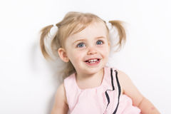 Portret dwa roczniaka dziewczyna odizolowywająca na białym tle Zdjęcie Royalty Free