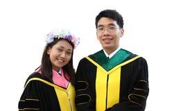 Portret dwa szczęśliwy kończy studia uczeń Zdjęcia Stock