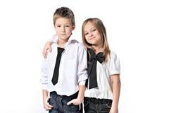Portret dziewczyna i chłopiec zdjęcia royalty free